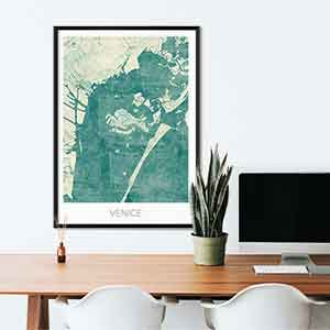 Venice gift map art gifts posters cool prints neighborhood gift ideas