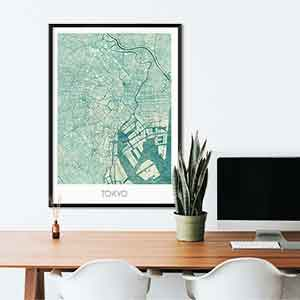 Tokyo gift map art gifts posters cool prints neighborhood gift ideas
