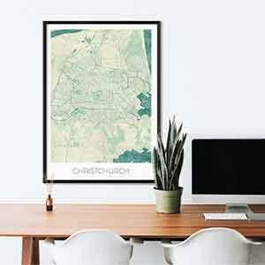 Christchurch gift map art gifts posters cool prints neighborhood gift ideas