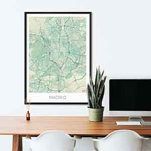 Madrid gift map art gifts posters cool prints neighborhood gift ideas