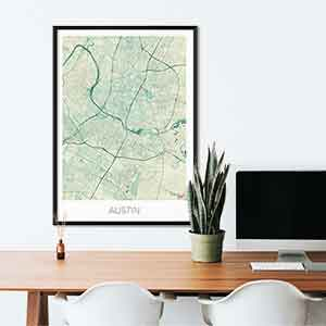 Austin gift map art gifts posters cool prints neighborhood gift ideas