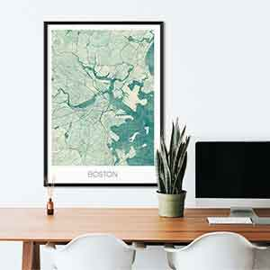 Boston gift map art gifts posters cool prints neighborhood gift ideas
