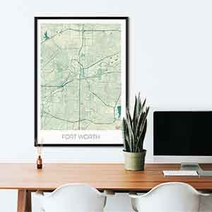 Fort Worth gift map art gifts posters cool prints neighborhood gift ideas