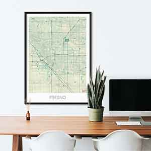 Fresno gift map art gifts posters cool prints neighborhood gift ideas