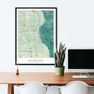Milwaukee gift map art gifts posters cool prints neighborhood gift ideas