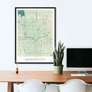 Oklahoma gift map art gifts posters cool prints neighborhood gift ideas