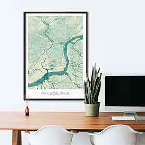 Philadelphia gift map art gifts posters cool prints neighborhood gift ideas