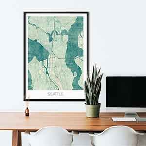 Seattle gift map art gifts posters cool prints neighborhood gift ideas