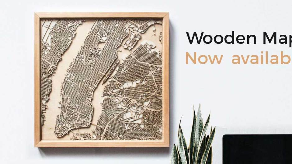 CityWood minimal wooden maps laser cut