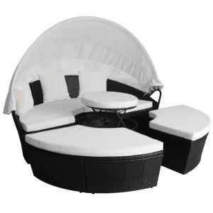 Lauko poilsio gultas, poliratanas, juodas