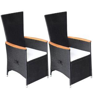 Atlenkiamos sodo kėdės su pagalvėlėmis, 2 vnt., ratanas, juodos