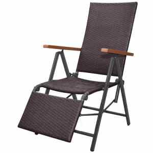 vidaXL Atlošiamas krėslas, poliratanas, rudas
