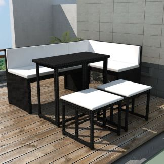 vidaXL Lauko valg. baldų kompl., 5d., juodas, plienas ir poliratanas