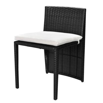 Bistro baldų komplektas su pagalvėmis, 3d., juodas, polirat.