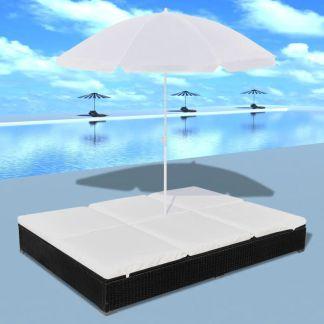 vidaXL Lauko saulės gultas su skėčiu, poliratanas, juodas