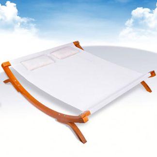 vidaXL Lauko gultas su pagalvėlėmis, mediena, balta