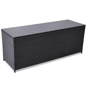 vidaXL Sodo daiktadėžė, juoda, 150x50x60cm, poliratanas