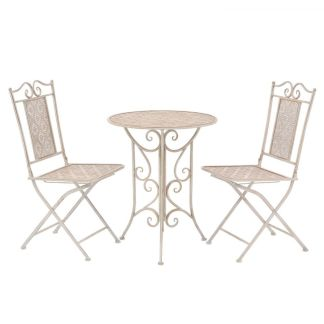 vidaXL Bistro baldų komplektas, 3 dalių, plienas, baltas