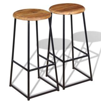 vidaXL Baro kėdės, 2 vnt., masyvus tikmedis