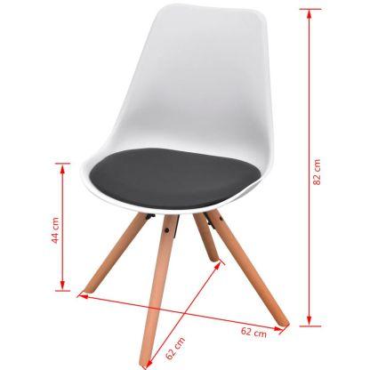 7 dalių valgomojo stalo ir kėdžių komplektas, juoda ir balta