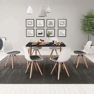 vidaXL 7 dalių valgomojo stalo ir kėdžių komplektas, juoda ir balta