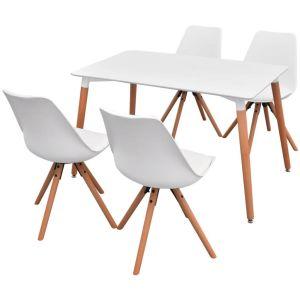 5 dalių valgomojo stalo ir kėdžių komplektas, balta
