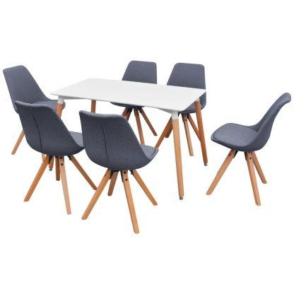 7 d. valgomojo stalo ir kėdžių komplektas, balta ir šv. pilka