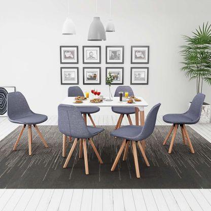 vidaXL 7 d. valgomojo stalo ir kėdžių komplektas, balta ir šv. pilka