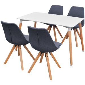 5 d. valgomojo stalo ir kėdžių komplektas, balta ir t.pilka