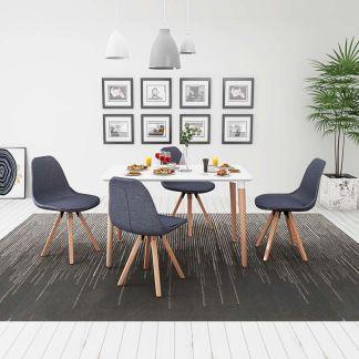 vidaXL 5 d. valgomojo stalo ir kėdžių komplektas, balta ir t.pilka