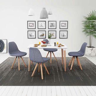 vidaXL 5 d. valgomojo stalo ir kėdžių komplektas, balta ir švies. pilka