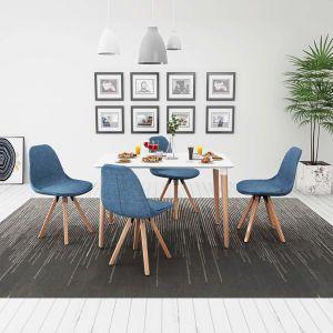 vidaXL 5 dalių valgomojo stalo ir kėdžių komplektas, balta ir mėlyna