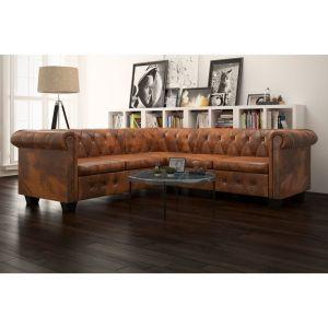 vidaXL Chesterfield penkiavietė sofa, dirbtinė oda, ruda