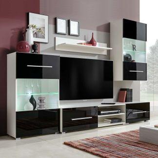 vidaXL Sieninė televizoriaus spintelė su LED apšvietimu, 5d., juoda