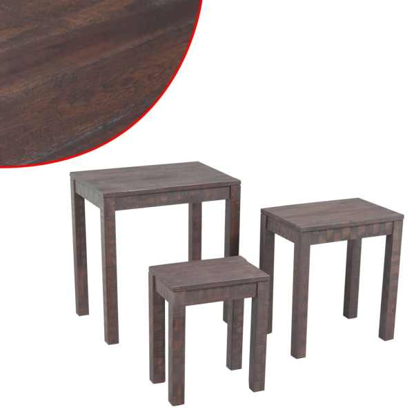 vidaXL 3 sustumiami staliukai, masyvi akacijos mediena