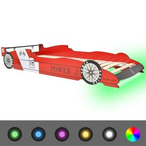 Vaikiška LED lova lenktyninė mašina, 90×200 cm, raudona