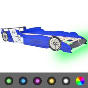 Vaikiška LED lova lenktyninė mašina, 90×200 cm, mėlyna