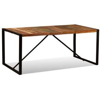 vidaXL Valgomojo stalas, masyvi perdirbta mediena, 180cm