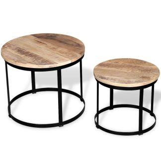 vidaXL 2 d. kavos staliukų kompl., mango mediena, apvalus, 40cm/50cm