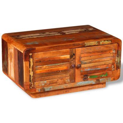 vidaXL Kavos staliukas, masyvi perdirbta mediena, 80x50x40 cm