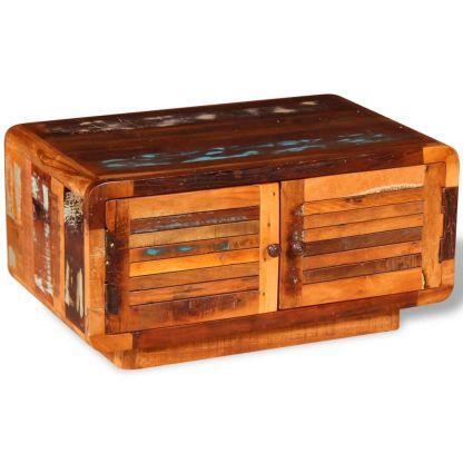 Kavos staliukas, masyvi perdirbta mediena, 80x50x40 cm