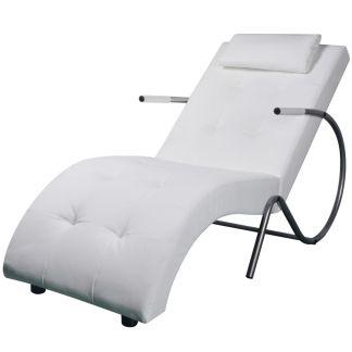 vidaXL Kušetė su pagalvėle, dirbtinė oda, balta