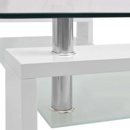 Blizgus kavos staliukas su apatine lentyna, 110x60x40cm, baltas