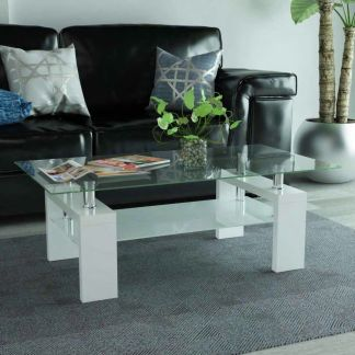 vidaXL Blizgus kavos staliukas su apatine lentyna, 110x60x40cm, baltas