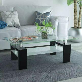 vidaXL Blizgus kavos staliukas su apatine lentyna, 110x60x40cm, juodas