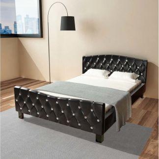 vidaXL Lovos rėmas, juodos spalvos, 140 x 200 cm, dirbtinė oda