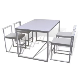 5 dalių valgomojo stalo ir kėdžių komplektas, baltas