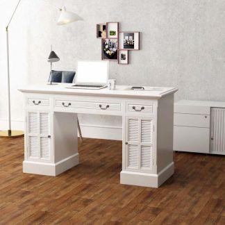 vidaXL Dvigubas rašomasis stalas, baltas, 140x48x80 cm