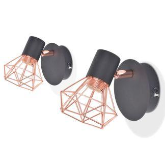 vidaXL Sieninės lemputės, 2vnt., E14, juoda ir vario spalva