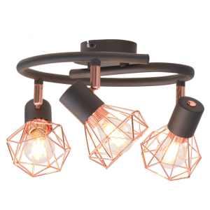 Lubinis šviestuvas su 3 gaubtuvais, E14, juodas ir vario spalvos